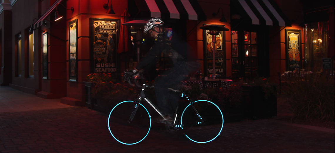 Velosight Blue Decals on Bicycle